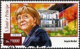 St THOMAS E PRINCIPE ISLANDS - CIRCA 2015: manifestazioni Angela Dorothea Merkel sopportata 1955 Fotografia Stock