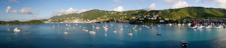 St-Thomas harbour. A panoramic view of st-thomas in the caribbean on a nice sunny morning stock photography