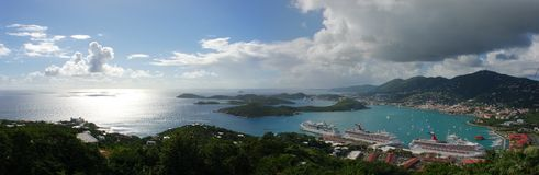 St. Thomas Island. The panoramic view of St. Thomas island and Charlotte Amalie town on the right (U. S. Virgin Islands stock photography