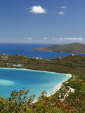 St. Thomas - Magen's Bay. A view of world famous Magen's Bay from high atop Drake's Seat overlook in St. Thomas, USVI royalty free stock photography