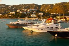 St. Thomas Marina at Sunset, Caribbean Royalty Free Stock Photo