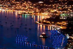 St Thomas at night. The port of Charlotte Amalie, St Thomas, US Virgin Island just after Sunset (ariel view). Famous blue lights of the marina. Taken right after Stock Photo