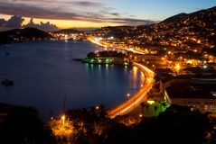 St Thomas night. The port of Charlotte Amalie, St Thomas, US Virgin Island just after Sunset (ariel view stock photos