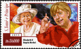 ST. THOMAS AND PRINCE ISLANDS - 2015: shows Angela Dorothea Merkel born 1955 and Elizabeth II Stock Photos