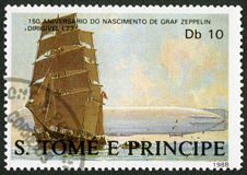 ST. THOMAS AND PRINCE ISLANDS - 1988: shows Sailing ship, dirigible L23, series Ferdinand Graf Von Zeppelin 1838-1917. ST. THOMAS AND PRINCE ISLANDS - CIRCA 1988 Stock Photo