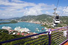 St. Thomas with skyride. Panoramic view from paradise point, st. thomas stock image