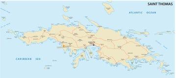 St Thomas, U S mapa de las Islas Vírgenes stock de ilustración