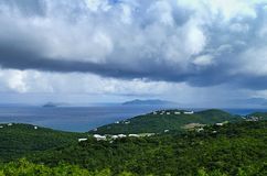 St. Thomas US Virgin Islands on a stormy day. That it is raining over the ocean royalty free stock photography