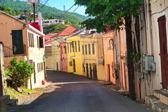 St. Thomas, US Virgin Islands. View of the downtown colorful street in the city of Christiansted on the island of St. Thomas, US Virgin Islands Royalty Free Stock Photos