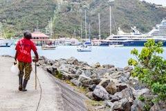St Thomas USA Jungfruöarna - April 01 2014: Plats från i stadens centrum St Thomas Arkivfoto