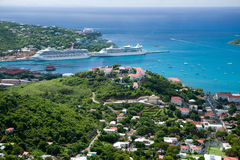St Thomas, USVI. Aerial view of the island of St Thomas, USVI. Charlotte Amalie - cruise bay royalty free stock photo