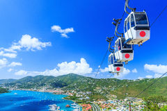St. Thomas, USVI. Caribbean, St. Thomas, USVI. Cable car at Heavensight in Charlotte Amelie royalty free stock images