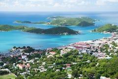 St Thomas, USVI. Charlotte Amalie - cruisebaai. Royalty-vrije Stock Foto