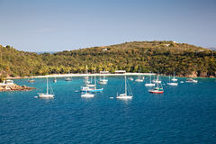 St. Thomas V.I. Harbor with Sailboats Stock Photography