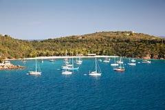 St. Thomas V.I. Harbor With Sailboats Stock Photography