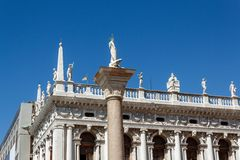St. todaro statue in San Marco place Royalty Free Stock Photos