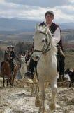 St Todor 's dag Het ras met paarden en van de paardentrekkracht karren met zwaar opent Todorov-dag het programma Royalty-vrije Stock Afbeelding