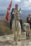 St Todor 's dag Het ras met paarden en van de paardentrekkracht karren met zwaar opent Todorov-dag het programma Royalty-vrije Stock Afbeeldingen