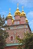 St Trinity Sergius Trinity Lavra. Predtechensky temple with the gold domes of Sergiev Posad stock photo