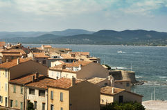 St Tropez ancient buildings in the resort. Royalty Free Stock Photos