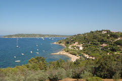 St Tropez bay from hilltop. St Tropez bay and boats from hilltop above town, French Riviera stock photo