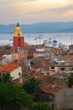 St.Tropez bij zonsondergang royalty-vrije stock foto