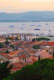 St.Tropez haven bij zonsondergang royalty-vrije stock afbeeldingen