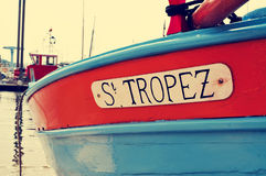 St Tropez pisać w łodzi z retro skutkiem, Zdjęcia Royalty Free