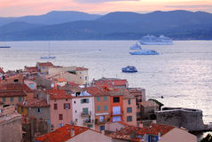 St.Tropez am Sonnenuntergang stockfoto