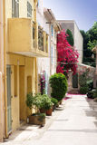 St tropez street. Fasade from one street in Saint Tropez in France royalty free stock photography