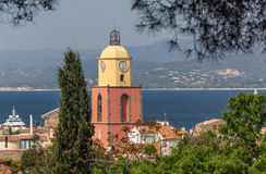 St. Tropez tower. View of the Clock Tower in St. Tropez, France Royalty Free Stock Images