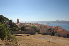 St Tropez from viewpoint. Panorama of St Tropez from viewpoint above town Stock Image