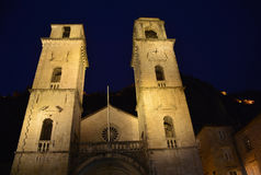 St Tryphons Cathedral. In Kotor, Montenegro. Although dating back to the 12th century, the facade was destroyed and rebuilt in the 16th century following an royalty free stock photography