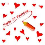 St Valentijnskaart Stock Afbeelding