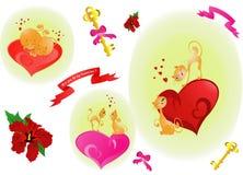 St Valentijnskaartenkatten (Vector) Royalty-vrije Stock Afbeelding