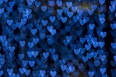 St. Valentin bakgrund för bokeh för hjärta för dagblått royaltyfria foton