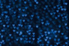 St. Valentin bakgrund för bokeh för hjärta för dagblått Royaltyfri Bild