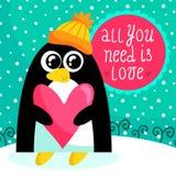 St-valentin kort för dag med den gulliga pingvinet Royaltyfri Foto