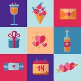 St-valentin symboler för dag i plan stil och nätta ljusa färger Arkivbilder