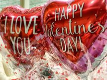 St. Valentine's Day balloon hearts with best wishes royalty free stock photography
