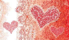 St.Valentine爱红色心脏卡片 向量例证