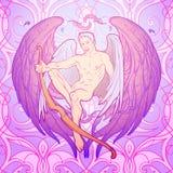 St Valentine& x27; усаживание купидона s иллюстрация вектора