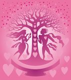 St. Valentine card. With love tree Stock Images