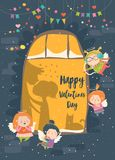 St.Valentine card with cupid and couple. Vector illustration Royalty Free Stock Photos