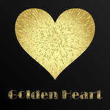 St. Valentine card of golden hearts on the dark background. Royalty Free Stock Photo
