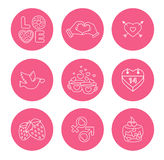 St. Valentine Day icons, thin line style, flat Royalty Free Stock Images