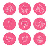 St. Valentine Day icons, thin line style, flat Stock Photography