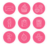 St. Valentine Day icons, thin line style, flat Stock Image
