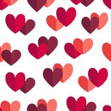 St. Valentine Day Pattern with pink and red Hearts royalty free stock images