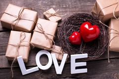 St. Valentine Day table background. stock images